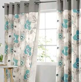 Next teal floral curtains