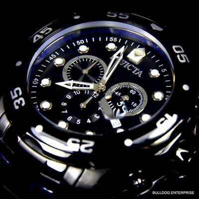 Mens Invicta Pro Diver Scuba 48mm Black Stainless Steel Chronograph Watch New