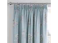 "Pair of curtains, duck egg and floral. 46x72"" (117x183 cm). Thermal lining also available.FREE hooks"