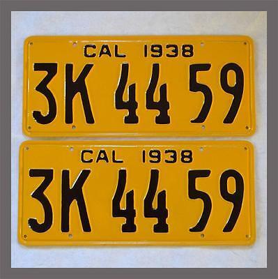 1938 California Yom License Plates Pair Dmv Clear Restored Vintage Old Ca