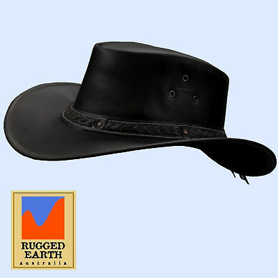 Outdoor Lederhut Australischer Style Hut Western Country Cowboy *054 schwarz Schwarze Outdoor Hut