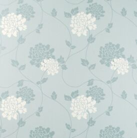 Laura Ashley Isodore Duck Egg/White Floral Wallpaper x 3 Rolls