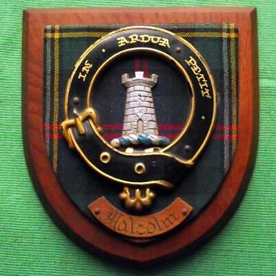 Vintage Nice Scottish Carved Oak Clan MALCOLM Tartan Plaque Crest Shield