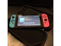 Nintendo Switch Neon + Zelda + Hard Case