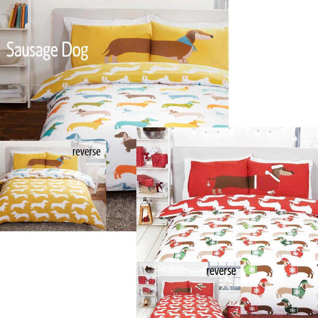 Dachshund Sausage Dog Reversible Duvet Quilt Cover Bedding S
