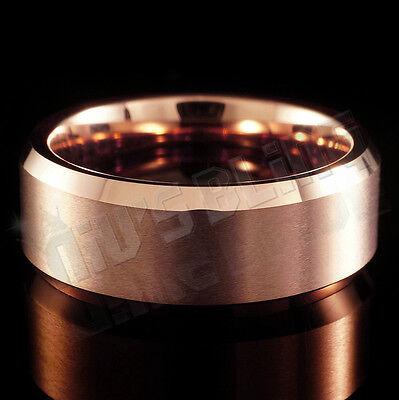 8MM Tungsten Carbide ROSE GOLD Wedding Band Engagement Brida