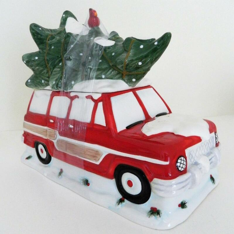 Blue Sky Woody Retro Red Station Wagon w Christmas Tree Ceramic Cookie Jar 2018