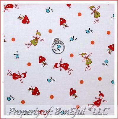 Child Tooth Fairy Costume (BonEful FABRIC Cotton Quilt White Tooth Fairy Bird Baby Gnome House Dot NR)
