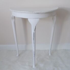 Vintage Half Moon Console Table with Ivory and Champagne Pearls