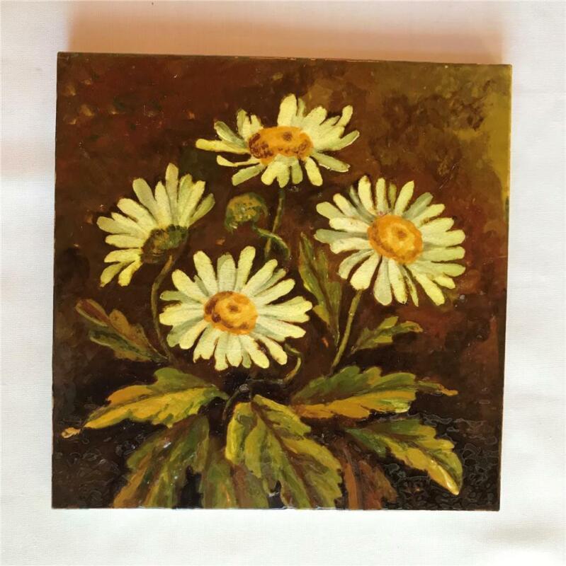 "Antique Craven Dunhill & Co 8"" Glazed Ceramic Daisy Tile England"