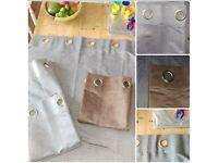 2 pairs suedette grey plain eyelet curtains, 117cm x 137cm. 1 pair suedette choc-brown plain eyelet