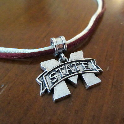 MISSISSIPPI STATE University BULLDOGS Double Satin Cord PENDANT NECKLACE jewelry