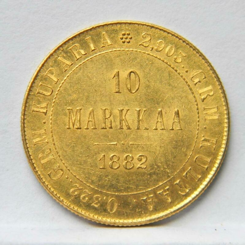 FINLAND, Russian Empire 1882-S gold 10 MARKKAA; AU with original mint luster