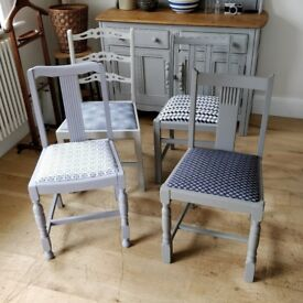 Vintage chairs. 4 Dining chairs. 4 Kitchen chairs. Antique chairs. Wooden chairs. Painted chairs