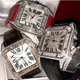 Brand New Diamond Cartier Santos not hublot, audemars piguet, rolex, patek, tag heuer, omega, armani