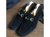 Mens Gucci Black Suede Shoes Size 9.5
