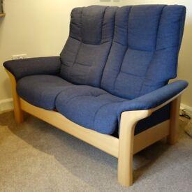 Ekornes Stressless® Windsor 2-seater Reclining Sofa – Siena Blue Fabric