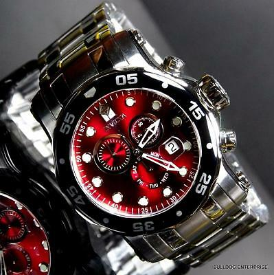 Invicta 48mm Pro Diver Scuba Burgandy Red Chronograph Silver Steel Watch New