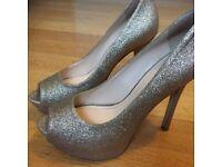 Beautiful Enzo Angiolini sparkly peep-toe heels - UK size 6