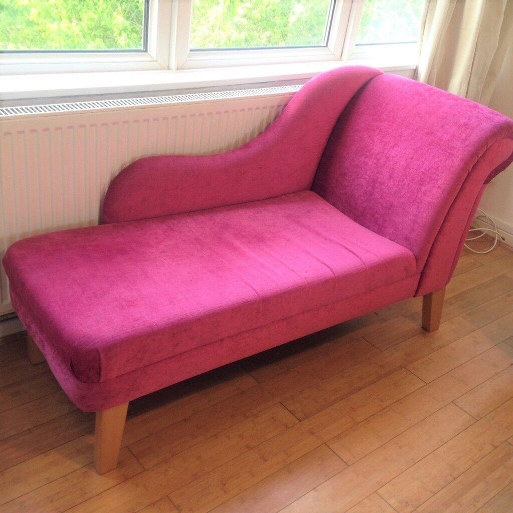fuschia furniture. Fuschia Pink Velvet Chaise Longue Sofa (small) In Good Condition Furniture V