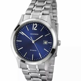 Sekonda Genuine Men's Stainless Steel Bracelet Blue Dial Watch New
