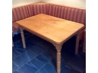 Solid wood pine kitchen table and bench