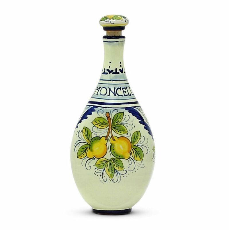 LIMONCELLO: Limoncello Bottle with Stopper Blue design