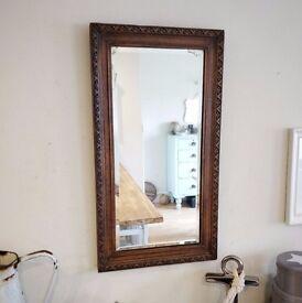solid oak mirror. vintage mirror. antique mirror. wall mirror. carved mirror. (1284)