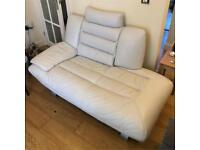 DFS retro leather one arm 2 seater sofa off white