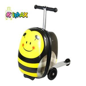 KiMAX Kids Luggage Scooter (Size: 18) - Honey Bee Suitcase Scooter for Kids