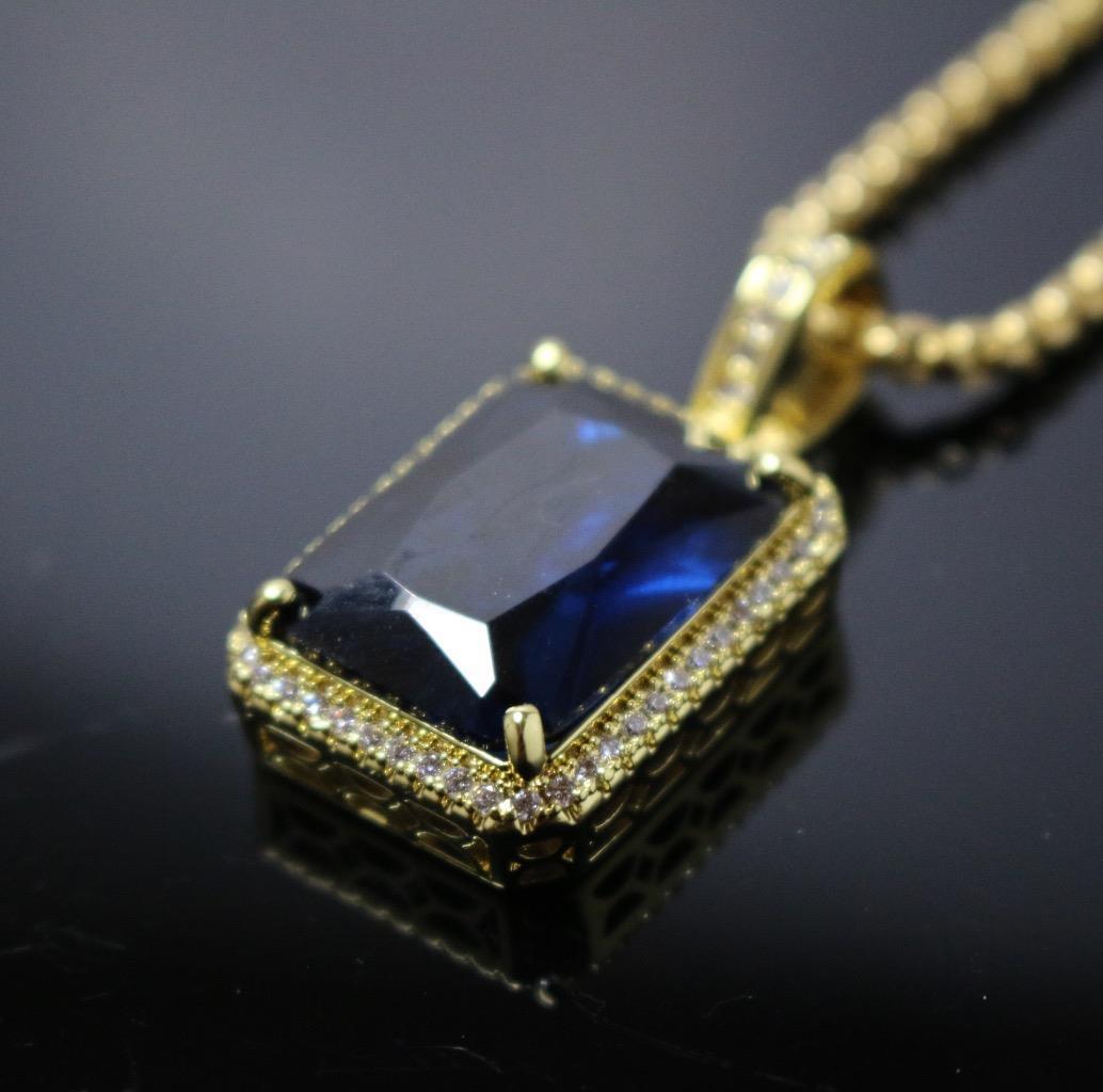 Mens Sapphire Blue Square Gem Stone Pendant Necklace