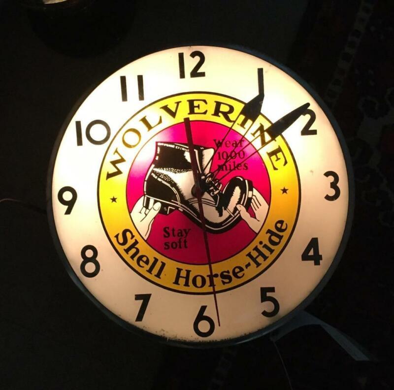 1950 VINTAGE WOLVERINE BOOTS TELECRON ADVERTISING CLOCK LIGHTS AND RUNS