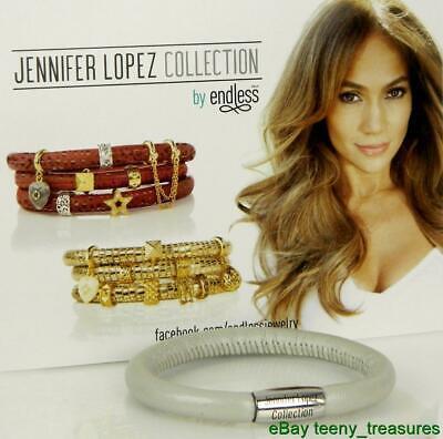 Pearl Single Wrap Bracelet - Jennifer Lopez ENDLESS Pearl Metallic Leather Single Wrap Charm Bracelet Silver
