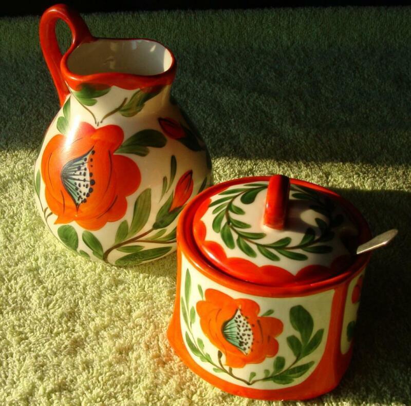 4pc Hand Painted Erphila Czeck Sugar Bowl & Creamer Pitcher in Poppy Orange
