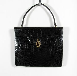 JACOMO-PARIS-COLLECTOR-ALERT-BLACK-ALLIGATOR-LEATHER-HANDBAG