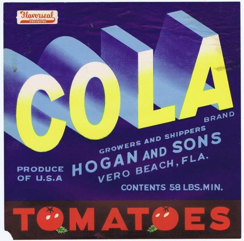 RARE TOMATOES COLA 1940S CRATE LABEL VERO BEACH FLORIDA 9X9 TYPOGRAPHY