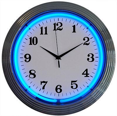 Blue  NEON chrome finish neon clock sign Garage open wall lamp light kitchen