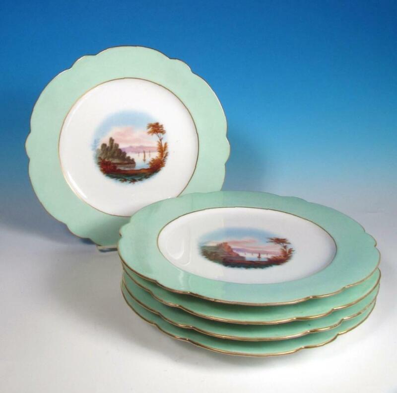 Old Paris Porcelain (5) Antique French 19 c Napoleon III Scenic Cabinet Plates