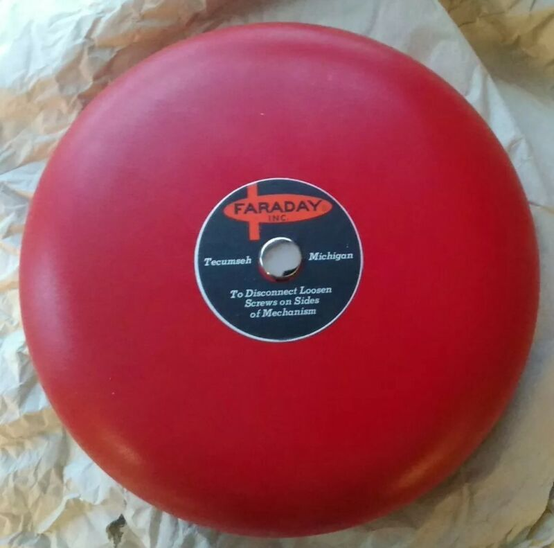 """Faraday #3008B 8"""" Gong Red Spartex NOB NOS Security/Fire Vintage Alarm Systems"""