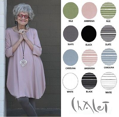 CHALET USA Bamboo Jersey  KRISTA BALLOON TUNIC  Long Top XS S M L XL 2017 COLORS