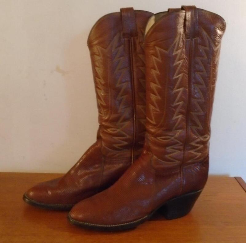 MENS, EL, MUNDO, BROWN, LEATHER, &, LIZARD, SKIN, COWBOY, BOOTS, SIZE, 8, 5