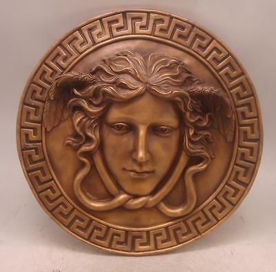 Bronze Wall Hanging Plaque - Head of Medusa - Versace Logo - 32cm Diameter