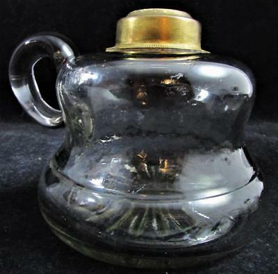 Antique St. Lawrence Oil or Kerosene Flat Hand Lamp 1880s Unusual Handle & Font