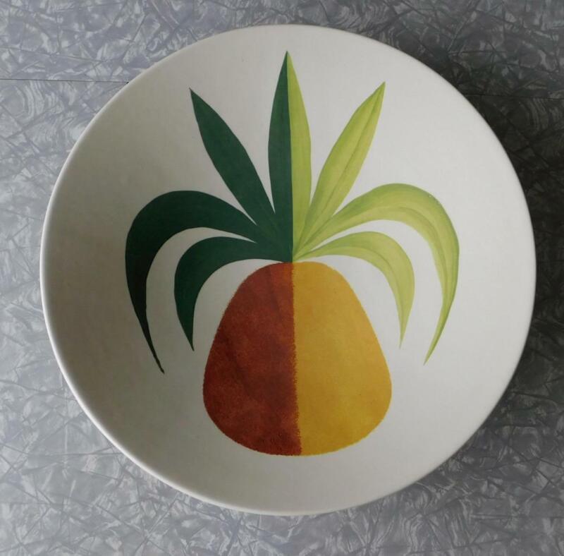 "Metlox Tropicana Pineapple 16"" Footed Low Bowl Vtg Poppytrail MCM CA Art Pottery"