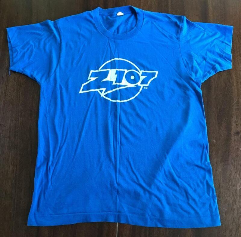 Z107 Houston Classic Rock Station VTG 80s Shirt FM Radio Screen Stars Large VG