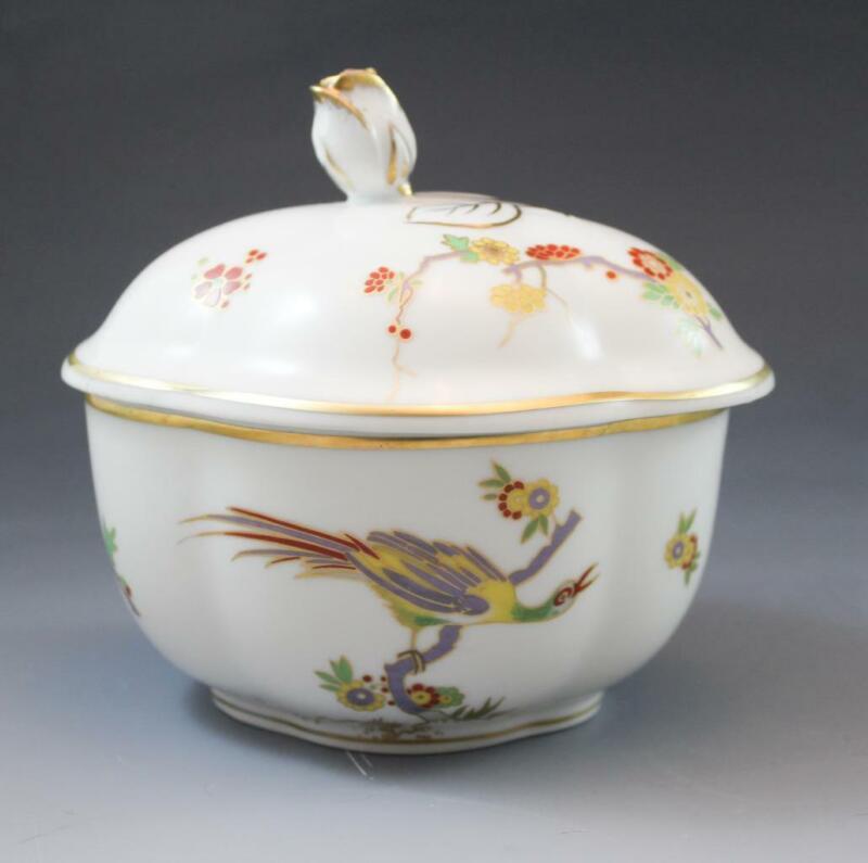 Vintage Richard Ginori Italian Porcelain Old Milan Covered Bowl Rose Finial