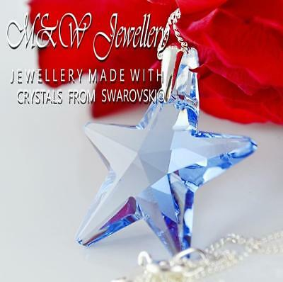 925 Silver Necklace Pendant Crystals from Swarovski® *STAR * 28mm LIGHT SAPPHIRE