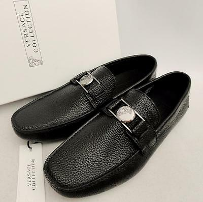 VERSACE COLLECTION Medusa Black Leather Loafers Shoes UK7 EU41 US8 New