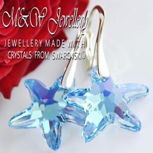 21a2cbeac 925 SILVER EARRINGS 16MM STARFISH AQUAMARINE AB - Crystals from Swarovski®