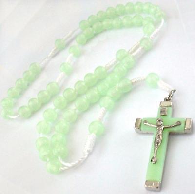 Green Glow in Dark Prayer Beads Cord Rosary Necklace Cross C